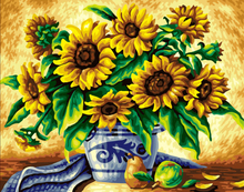 Frameless picture on wall acrylic painting by numbers diy canvas painting art Christmas gift Sunflower coloring by numbers