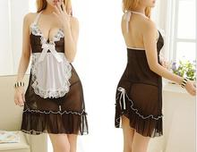 Buy Women Hot Sexy Lingerie Ladies Sexy Perspective Uniform Temptation Strap V-Neck Baby Dolls Exotic Nightdresse Maid Costume