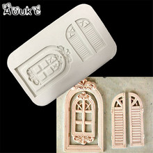 Door Window Shape Cake Fondant Mold Candy Chocolate Silicone Molds Biscuits Embossed Mould DIY Cake Decoration Baking Tools G210(China)