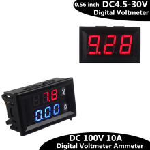0.56inch Mini Digital Voltmeter Ammeter DC 100V 10A  Voltmeter Current Meter Tester  Blue+Red Dual LED Display (China)