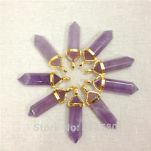 H-PP29  Amethysts Healing Crystal Point Pendant with Silver Bail or Gold Bail