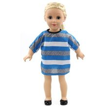 2017 News 15 styles Princess Dress Doll Clothes fit 43cm Baby Born Doll Blue Stripes and Accessories for kids MG166(China)