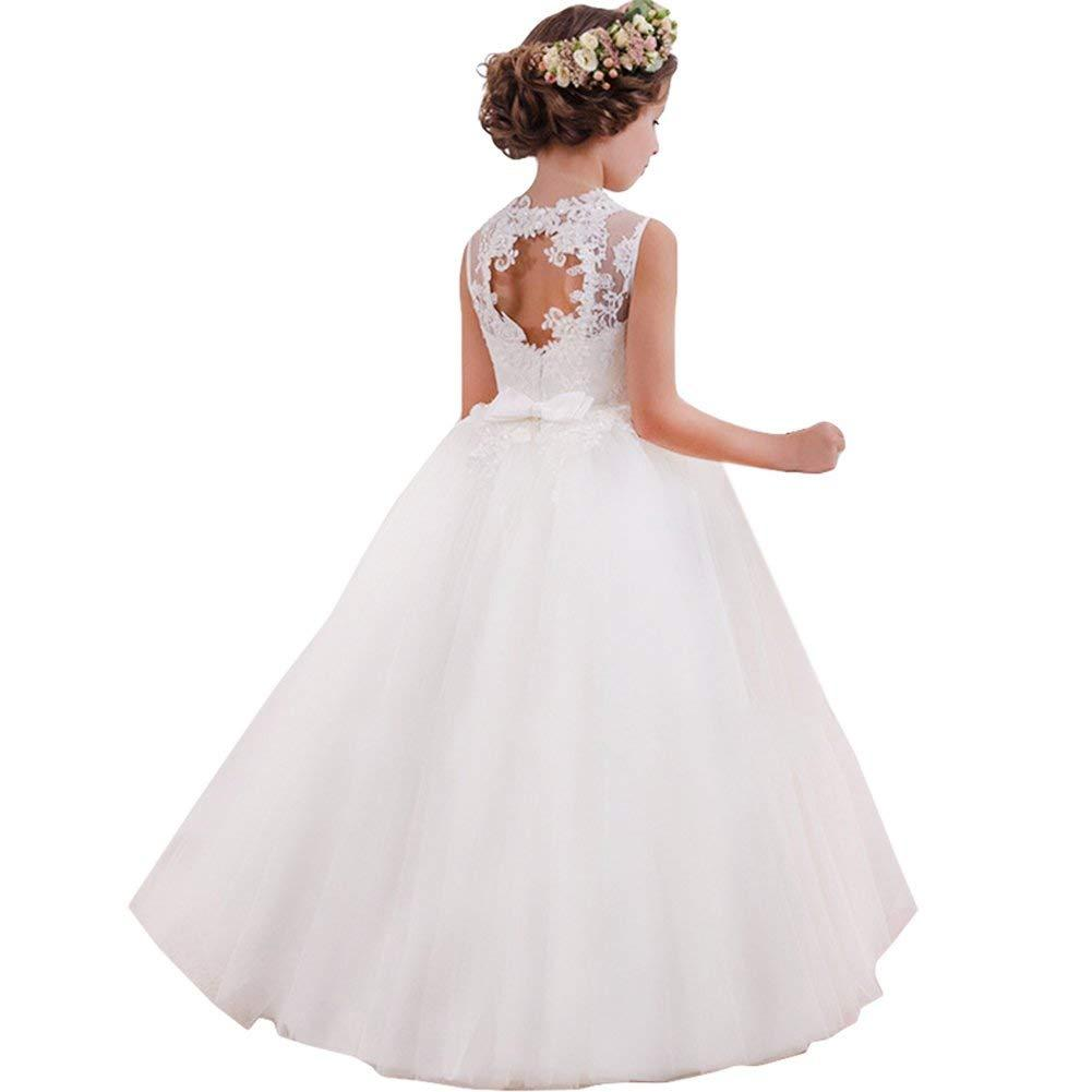 Flower Girls Cute New Brithday White Dress Wedding Princess Backless Lace Dresses  Girls First Holy Communion Dresses