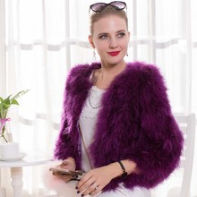 Genuine Fur Female Outwear Real Turkey Fur Thick Warm Short Coat Casual Fashion Plus Size Ostrich Feather Winter Lady Jacket