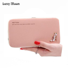 Luxy Moon 2017 Sexy High Heels Decoration Clutch Bags Ladies Colorful Purse Simple design Wallets Pearl Purse ZD270(China)