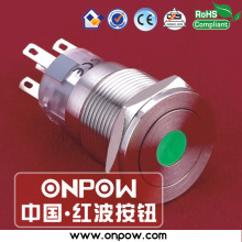 ONPOW 19mm metal latching dot illuminated pushbutton switch anti-vandal LAS1-AGQPF-11ZD/G/12V/S