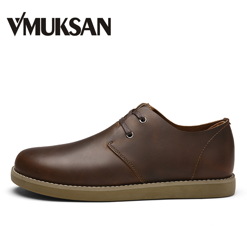 VMUKSAN Mens Casual Shoes Lace Up Split Leather Shoes For Man Brown Fashion Spring Man Shoes Round Toe Flats<br>