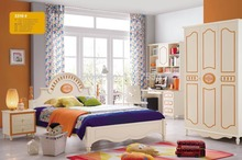 3319 Children bedroom furniture sets children bed three doors wardrobe desk chair nightstand(China)