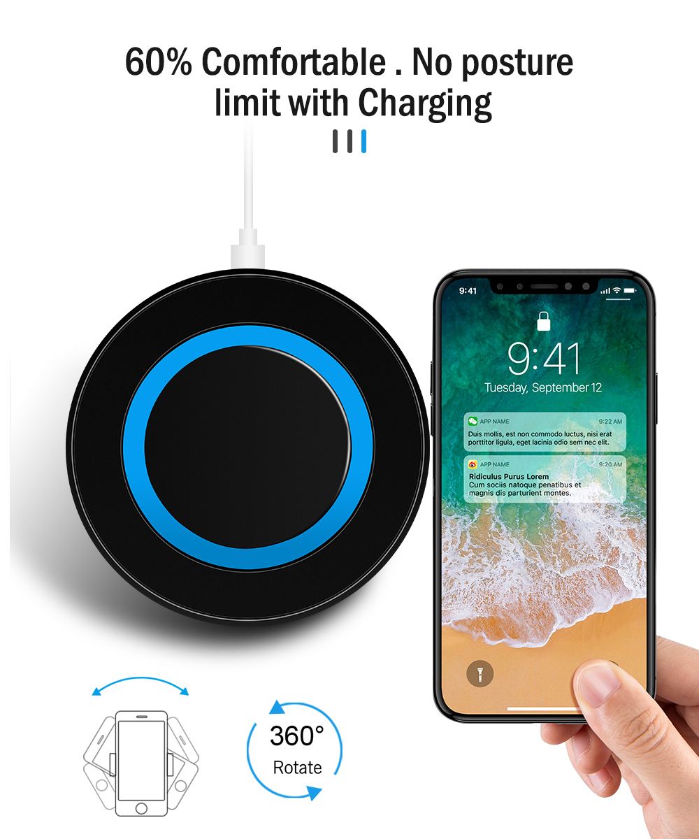 Proelio Mini Qi Wireless Charger USB Charge Pad Charging For iPhone X 8 8 Plus Samsung Galaxy S6 S7 Edge S8 Plus Note 5 8 Nokia (14)