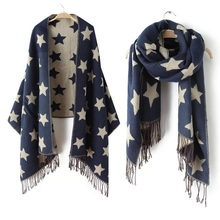 2017 New Designer Scarf 200*65cm Wool Winter Scarf Women Scarves Five-Pointed Star Blanket Long Cashmere Scarf shawls For moman(China)