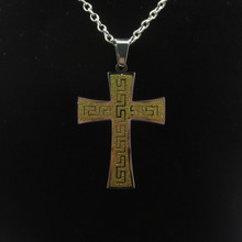 charm women Mens Stainless Steel Chain gold cross Necklaces for Ladies Fashion Trendy love gold cross Pendants necklace(China)
