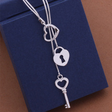 925 Romantic Necklace Lock&Key Pendant Mulit Chain Necklace Sterling Silver Jewelry For Women Best Gift AN451