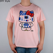 HELLO KITTY blue red DROID STAR WARS T-shirts Short Men new arrival Fashion Brand t shirt for men(China)