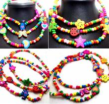 30pcs Children Wood Beads Necklaces 6 Styles MIX Girls Party Bag fillers Kids Toys Favor Wholesale Jewelry Lots