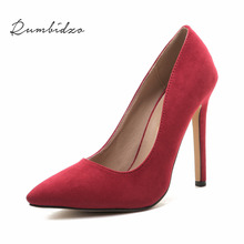 Rumbidzo Plus size Women Pumps 2017 Sexy High Heels Pointed Toe Party Shoes Woman Wedding Office Pumps Red Green Zapato Mujer(China)