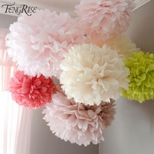 FENGRISE Wedding Decoration 5pcs 20 25 30cm Pom Pom Tissue Paper Pompom Flower Birthday Party Decorations For Home New Year Gift(China)
