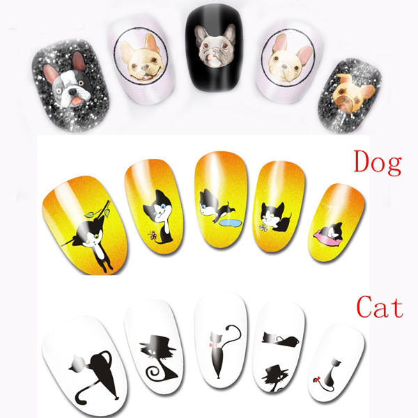 33 pcs Nail Art Water Transfer Pug Bull Dog Cat Owl Decals Stickers Wraps Cartoon Nail Decoration(China)