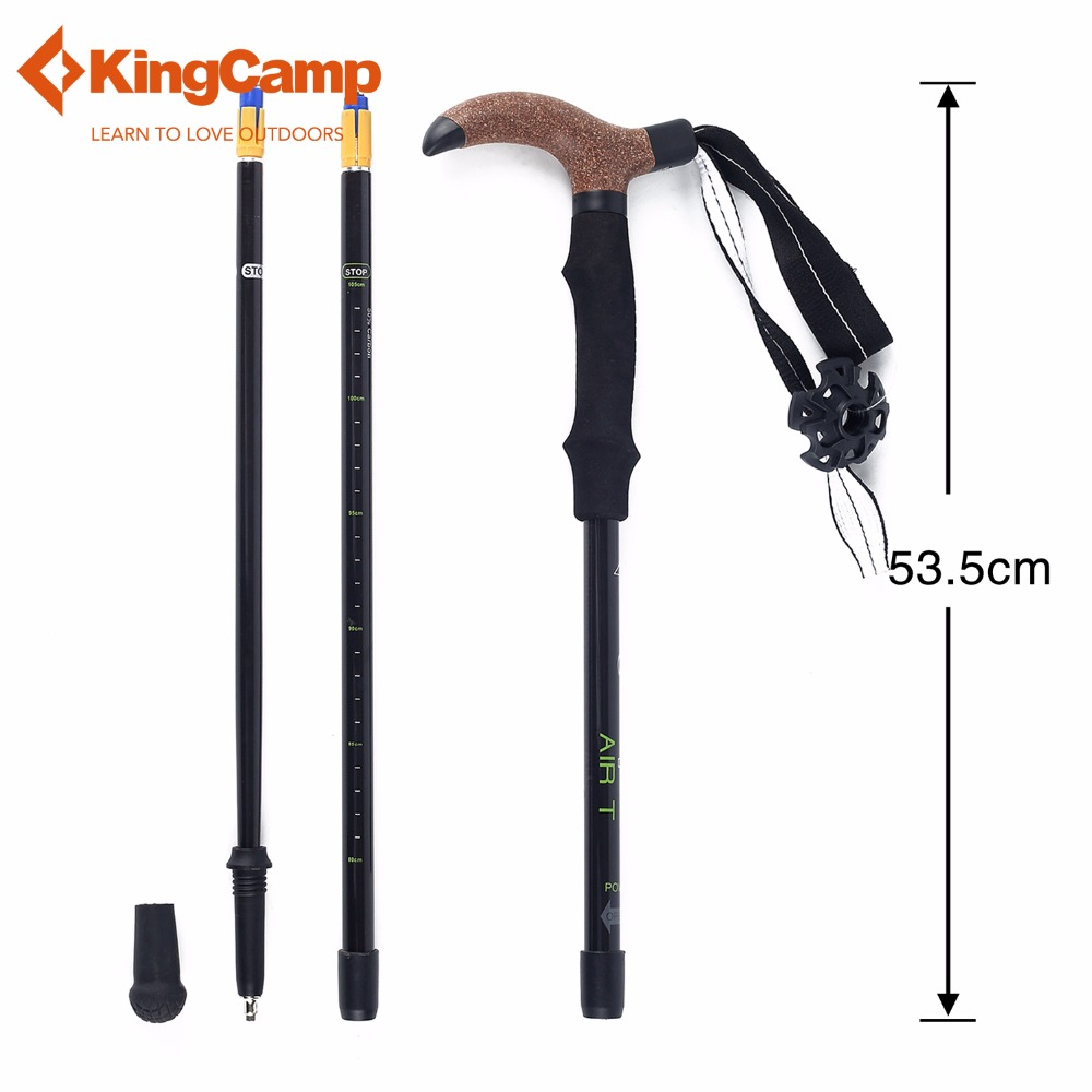KingCamp Ultra-light Walking Sticks Carbon Fiber Cork T-handle Hiking Stick Walking Trekking Pole for Climbing Mountaineer<br>