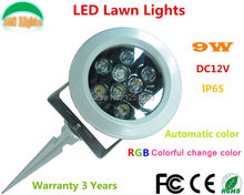 Automatic Change color 9W LED Garden Spotlights DC 12V RGB LED Flood Lights IP65 Waterproof Outdoor LED Lawn Lights CE RoHS(China)