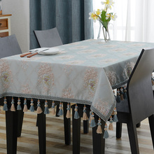Amazing Design Embroidered Table Cloth Luxury Blue Jacquard Tassel Toalha De Mesa Royal N Linen Dinning Table Covers(China)