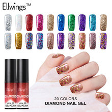 Ellwings 3D Hybrid Diamond Color Glitter Painting Gel Nail Polish UV Lamp for Gel Varnish Sparkles Top Base Paint Gel Lacquer