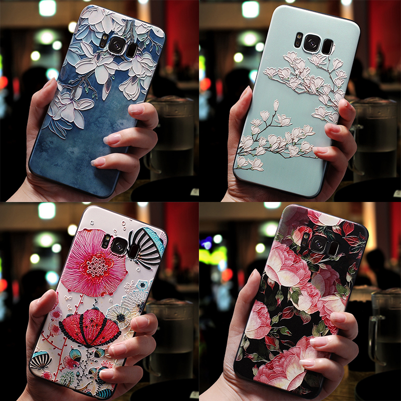 3D Flower Emboss Case For Samsung Galaxy J7 J3 J5 A3 A5 J4 J6 Plus J8 A7 2018 2016 2017 S7 S8 S9 Plus Note 8 Case Soft TPU Coque(China)