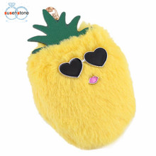 SUSENSTONE Pineapple Fur Ball Cell Phone Car Keychain Pendant Handbag Charm Key Ring