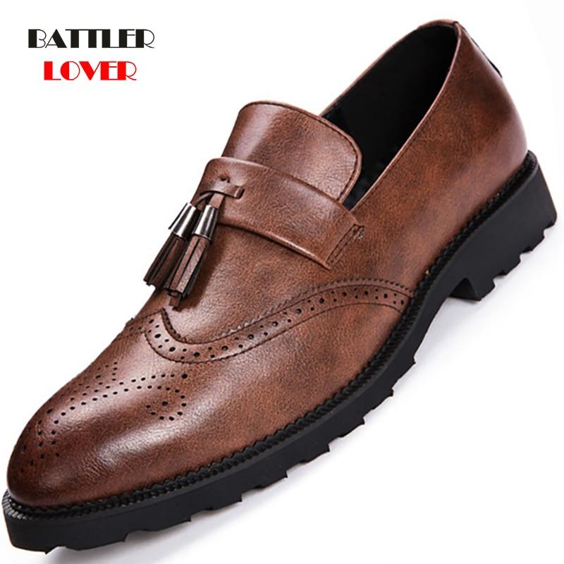 2019 Brogue Formal Shoes Men Genuine Leather Dress Shoes Men