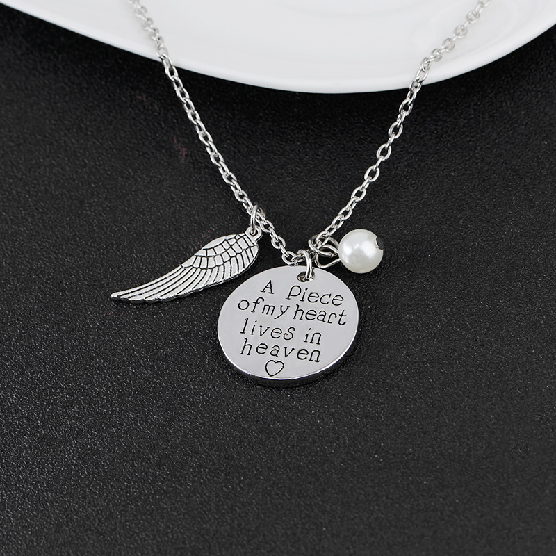 A Piece Of My Heart Lives in Heaven Angel Wing Charms Necklace