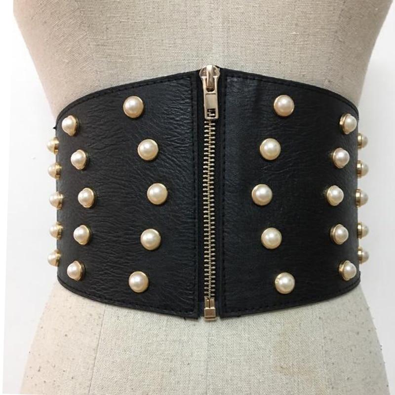 New Leather Pearl Female Belts Corset Black Elasitc Wide Belts for Women Dress Cummerbund Korea Fashion Clothes Accessory
