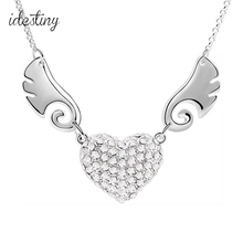 angel heart wing silver pendant micro paved with Austrian crystal for girls white gold color fashion brand design jewellery(China)