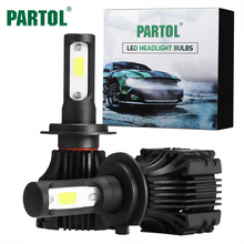 Partol S5 H7 Car LED Headlights 72W 8000LM COB Auto LED Headlight Bulbs Single Beam 6500K LED Car Front Bulb Automobile Headlamp(China)