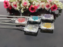 1PC 20x30MM Square Real Pressed Flower Necklace,Pressed Dry Flower Necklace,Glass Tile Pendant Necklace