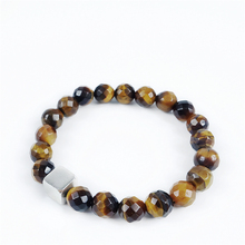 Natural Tiger Eye  Beads Fashion Bracelet  925 Sterling Silver  Lucky Cube Bangle High Quality Jewelry