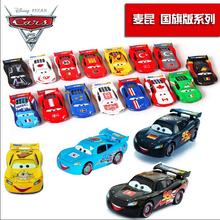 Disney Cars 2 Lightning McQueen national flag edition full 26 alloy racing toy model gift Pixar Cars 1:55