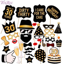 FENGRISE Man Woman Style 30th Birthday Photo Booth Props Funny Mustache 30 Years Photobooth Party Favors Birthday Decor Supplies