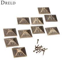 10Pcs Antique Bronze 21x21mm Square Nailhead Upholstery Decorative Nails Tack Stud Jewelry Wooden Box Furniture Pushpin Doornail