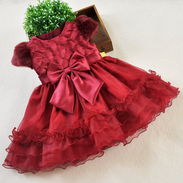 New Autumn Winter Girls Princess Dress Baby Children Basic Shirt Red Kids Layered Chrismas high-grade Dress Vestidos Infantis<br><br>Aliexpress