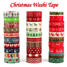 1PC Decorative Christmas Washi Tape Set Rice Paper DIY Scrapbooking Adhesive Tape 1.5cm*10m Masking Tape School Office Supply(China)