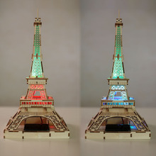 3D jigsaw puzzle toy Eiffel Tower in Paris, novel characteristics of solar hot creative gift small souvenir tourist attractions
