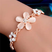 H:HYDE Gold Color bracelet women Pink Opal Flower Charm crystal Bracelet bracelet for women jewelry wholesale pulseras mujer