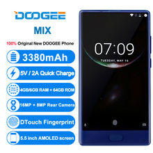 DOOGEE MIX bezel-less Smartphone Dual Camera 5.5'' AMOLED MTK Helio P25 Octa Core 4GB+64GB mobile phones Android 7 In Stock