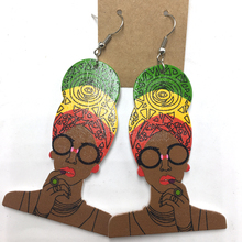 10pairs/lot 2017 African HeadWrap Wooden Earrings can mixed 6 colors