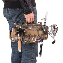 32 * 17 *17cm Fishing Bag Multifunctional Lure Polyester Waist Shoulder Fishing Lure Reel Tackle Bags Bait Box Camouflage
