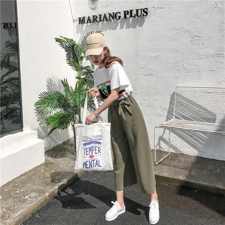 Plus Size - Casual Elastic Waist Loose Wide Leg Pants Preppy Style Trousers Female Palazzo Pants (Us 18W-20W)