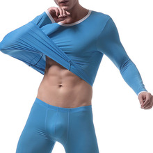 Men Long Sleeve Tops Tees Ice Silk Bodybuilding T Shirt Fitness Gyms Lounge Clothing Long Sleeves Long John Tops(China)