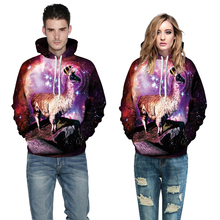 2015 Newest collection Alpacas on Mountain 3D printed galaxy hooded sweatshirt causal winter harajuku spandex cotton hoodies