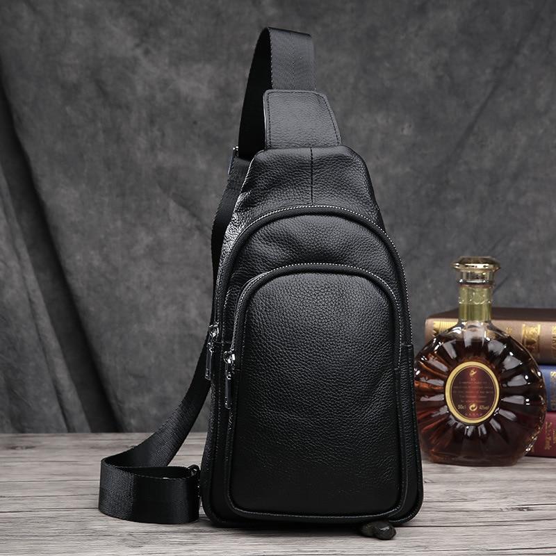 Brand Bag Men Chest Pack Single Shoulder Strap Back Bag Genuine Leather Travel Men Crossbody Bags Vintage Rucksack Chest Bag<br><br>Aliexpress