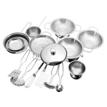 18pcs Stainless Steel Kitchen Cooking Utensils Pots Pans Food Gift Miniature Kitchen Cook Tools Simulation Play House Toys