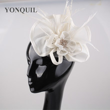 Fashion ivory fascinator feather flower hair accessories clips women Occasion style decorative party headwear wedding hairbands(China)